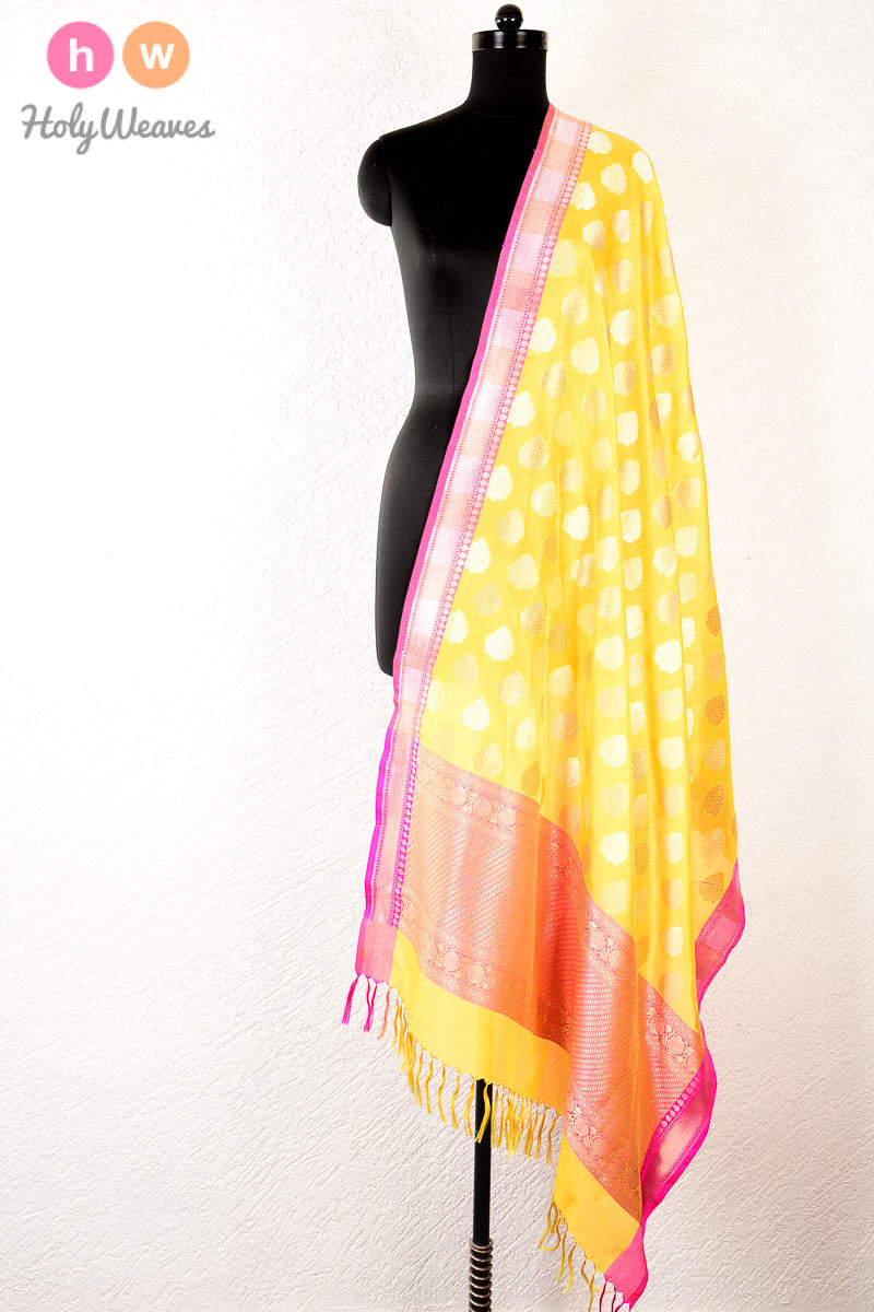 Yellow Banarasi Cutwork Brocade Handwoven Katan Georgette Dupatta - HolyWeaves