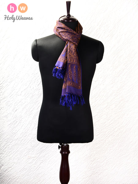"Blue Banarasi Jamawar (जामावार) Handwoven Silk-Wool Scarf 71""x22"""