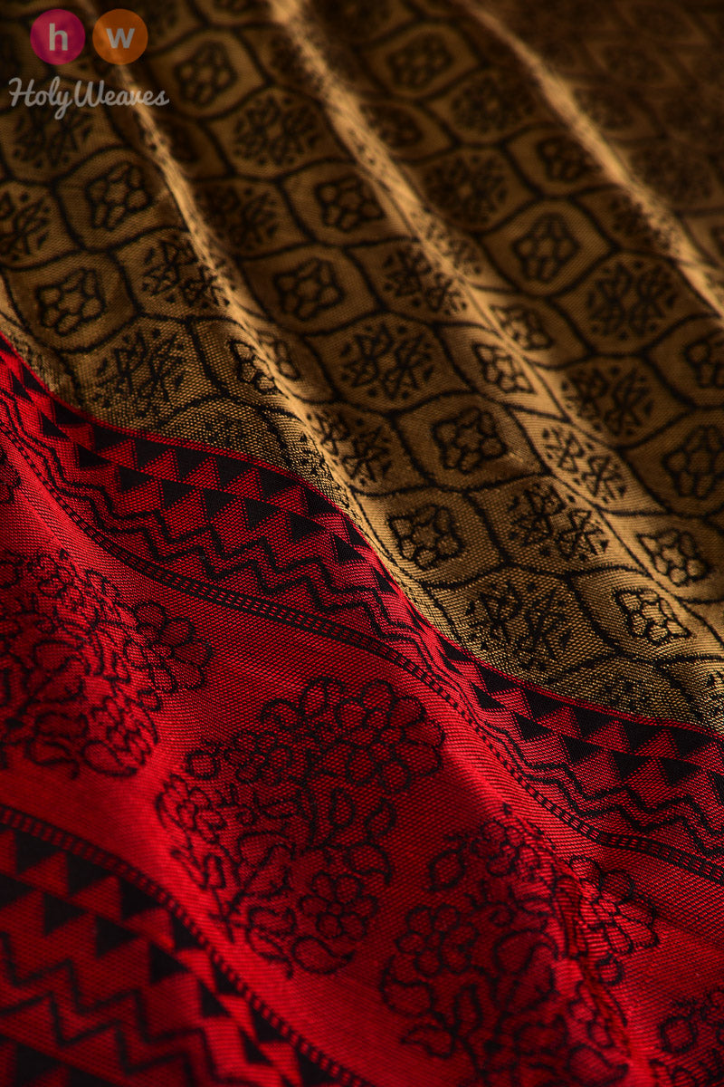 Black South Tanchoi Brocade Handwoven Silk Dupatta - HolyWeaves