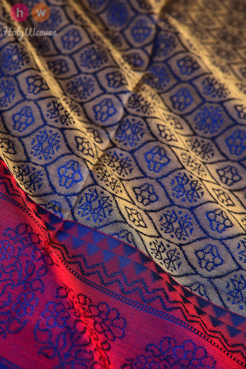 Navy Blue South Tanchoi Brocade Handwoven Silk Dupatta - HolyWeaves