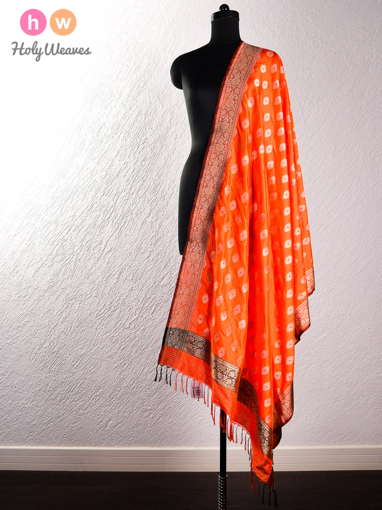 Orange Banarasi Cutwork Brocade Handwoven Dupion Silk Dupatta