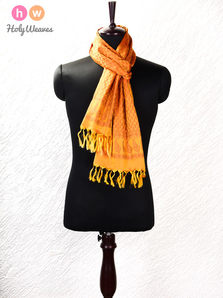 "Golden Yellow Banarasi Jamawar (जामावार) Handwoven Silk Scarf 72""x21"""