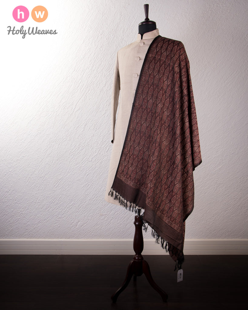 Black Banarasi Jamawar (जामावार) Handwoven Silk-Wool Shawl