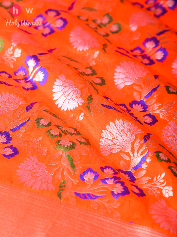Orange Handwoven Katan (कतान) Silk Cutwork Brocade Dupatta- HolyWeaves