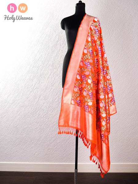 Orange Handwoven Katan (कतान) Silk Cutwork Brocade Dupatta