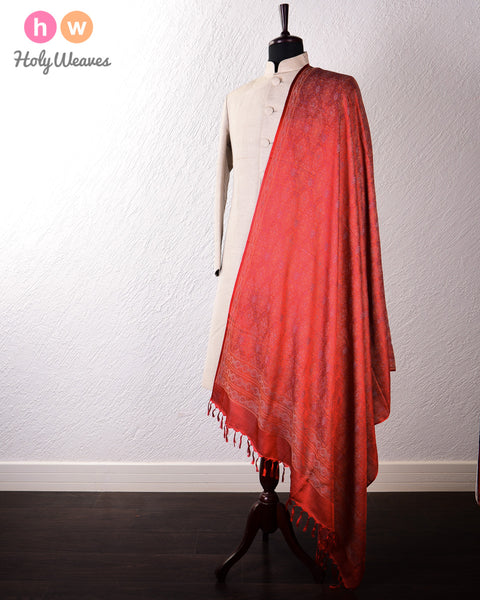 Red Banarasi Jamawar Handwoven Silk-Wool Shawl
