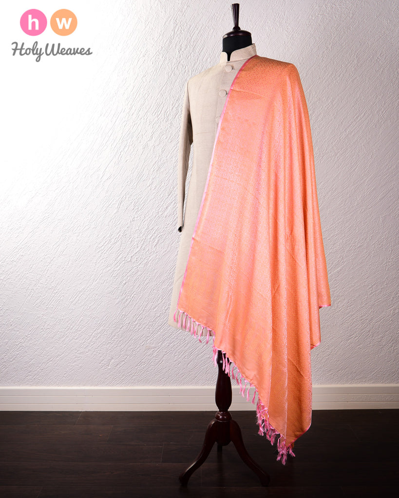 Pink Banarasi Jamawar (जामावार) Handwoven Silk-Wool Shawl