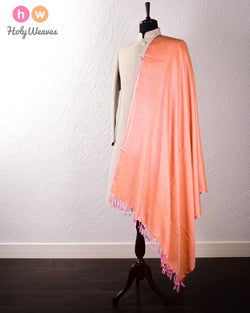 Pink Banarasi Jamawar (जामावार) Handwoven Silk-Wool Shawl- HolyWeaves