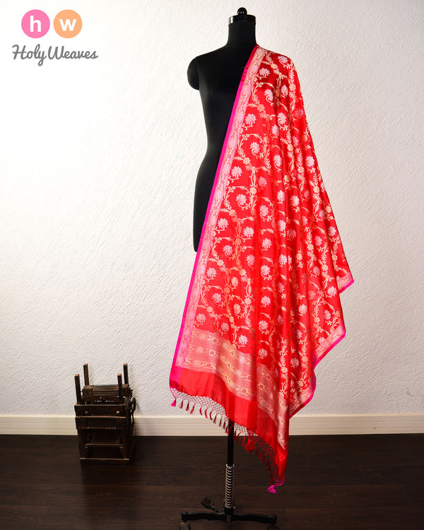 Red Banarasi Cutwork Brocade Handwoven Katan (कतान) Silk Dupatta