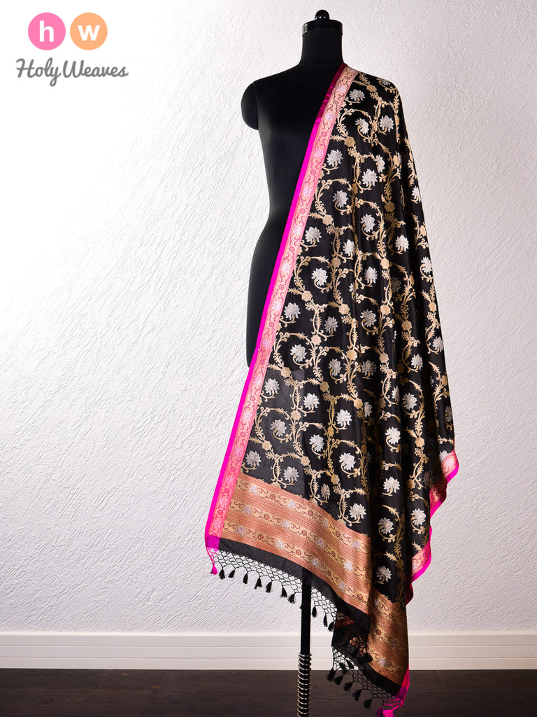 Black Banarasi Cutwork Brocade Handwoven Katan (कतान) Silk Dupatta
