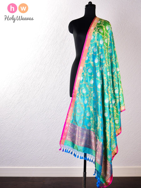 Green Banarasi Cutwork Brocade Handwoven Katan (कतान) Silk Dupatta