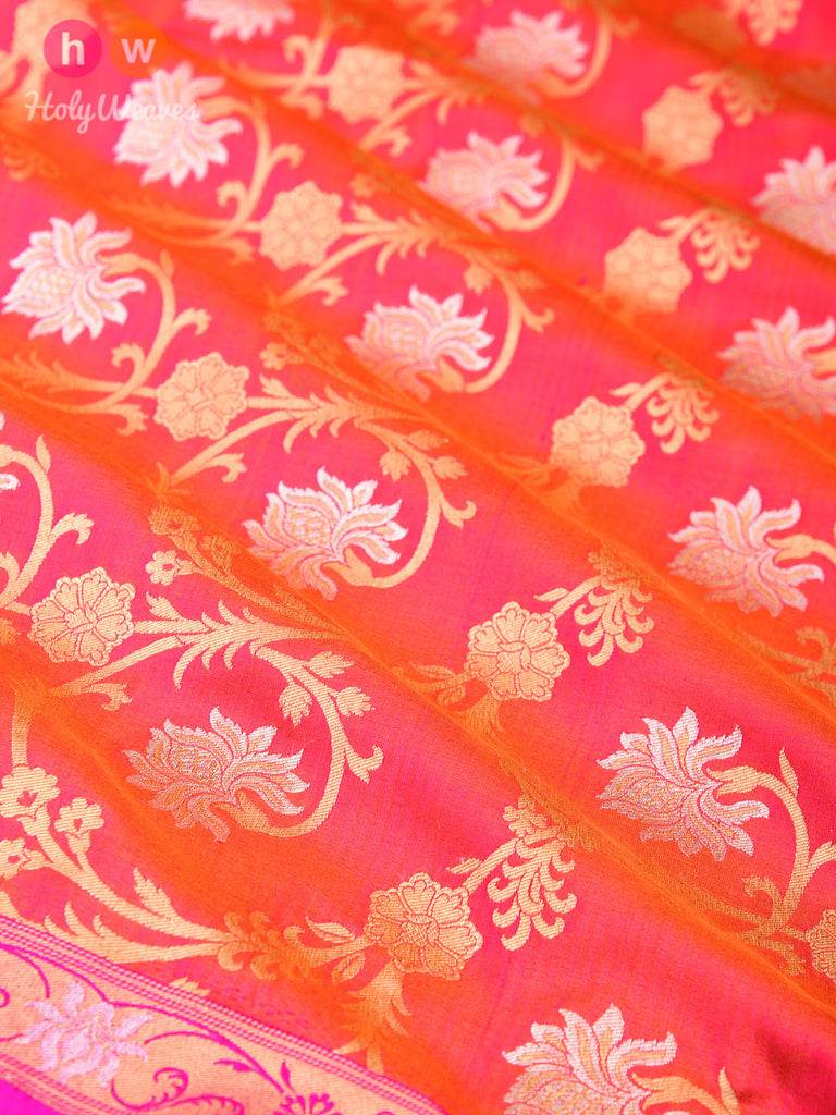 Peach-Orange Banarasi Cutwork Brocade Handwoven Katan Silk Dupatta