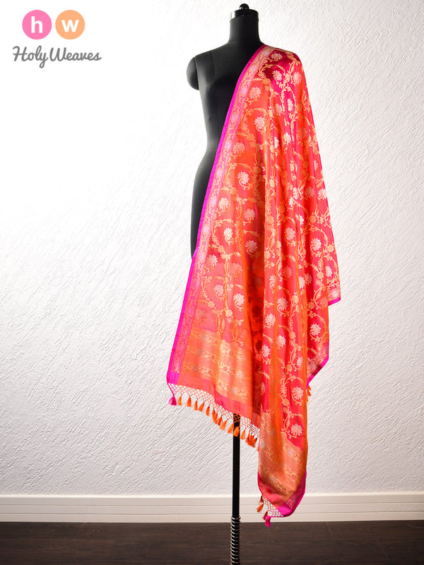 Peach-Orange Banarasi Cutwork Brocade Handwoven Katan (कतान) Silk Dupatta - HolyWeaves