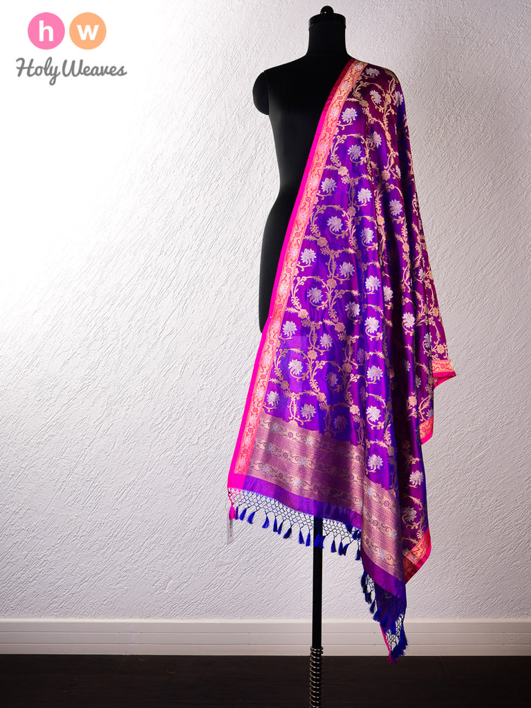 Purple Banarasi Cutwork Brocade Handwoven Katan Silk Dupatta