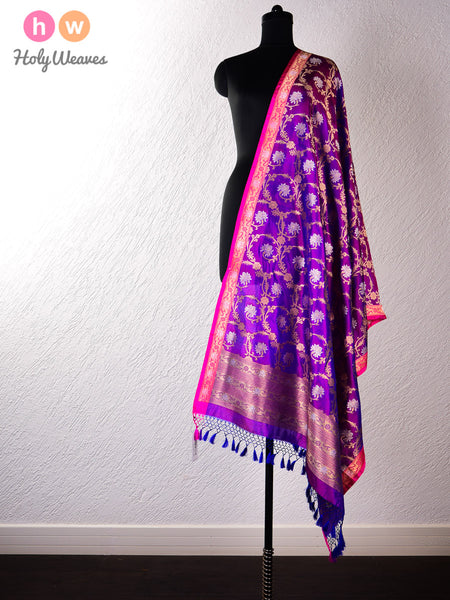 Purple Banarasi Cutwork Brocade Handwoven Katan (कतान) Silk Dupatta