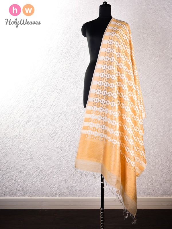 Beige Banarasi Cutwork Brocade Handwoven Cotton Silk Dupatta- HolyWeaves