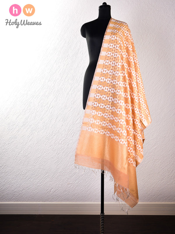 Brown Banarasi Cutwork Brocade Handwoven Cotton Silk Dupatta- HolyWeaves