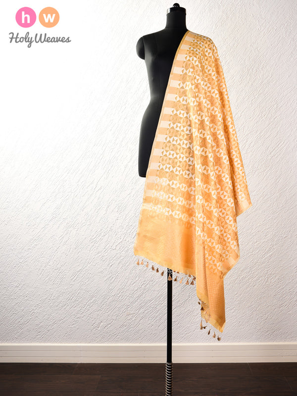 Yellow Banarasi Cutwork Brocade Handwoven Cotton Silk Dupatta - HolyWeaves