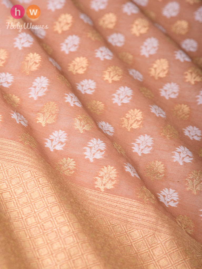 Brown Banarasi Cutwork Brocade Handwoven Cotton Silk Dupatta