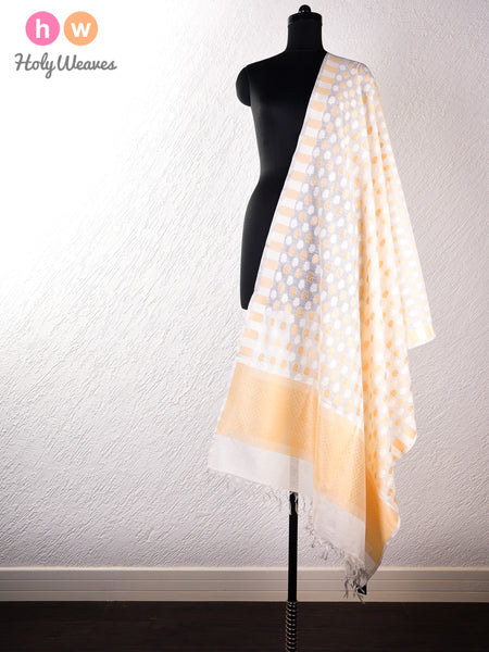 Cream Banarasi Cutwork Brocade Handwoven Cotton Silk Dupatta