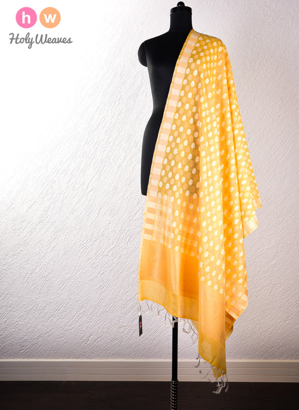 Yellow Banarasi Cutwork Brocade Handwoven Cotton Silk Dupatta- HolyWeaves