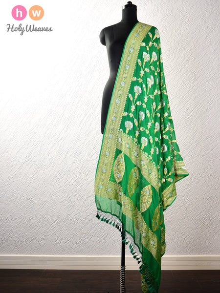 Green Banarasi Cutwork Brocade Handwoven Khaddi (खड्डी) Georgette Dupatta with Sona-Rupa Bel