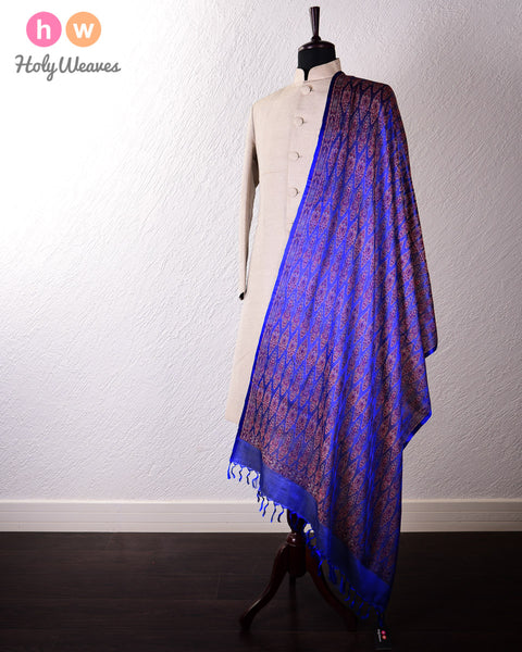Blue Banarasi Jamawar (जामावार) Handwoven Silk-Wool Shawl