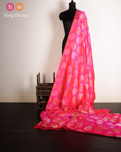Pink Banarasi Cutwork Brocade Handwoven Silk Fabric- HolyWeaves