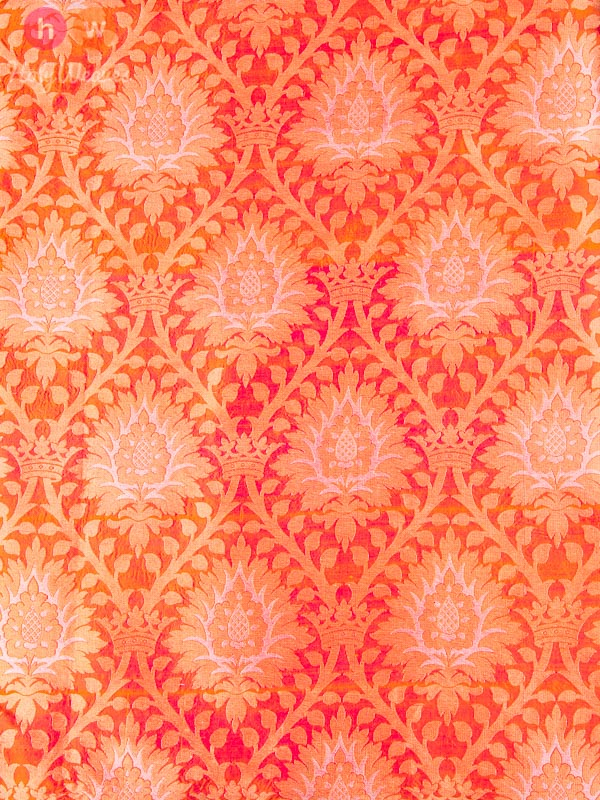 Peach Handwoven Katan (कतान) Silk Cutwork Brocade Fabric - HolyWeaves