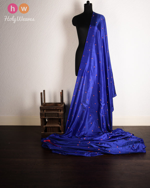 Blue Banarasi Kadhuan (कढ़ुआँ) Brocade Handwoven Silk Fabric- HolyWeaves
