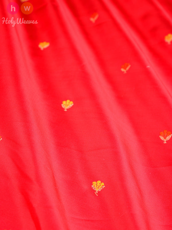 Red Katan (कतान) Silk Kadhuan (कढ़ुआँ) Brocade Handwoven Fabric- HolyWeaves
