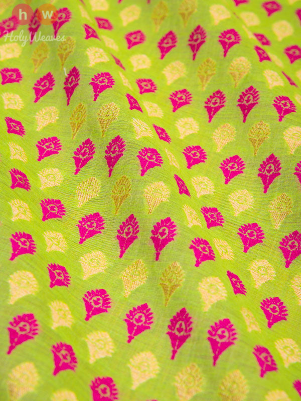 Green Handwoven Cotton Silk Cutwork Brocade Fabric- HolyWeaves