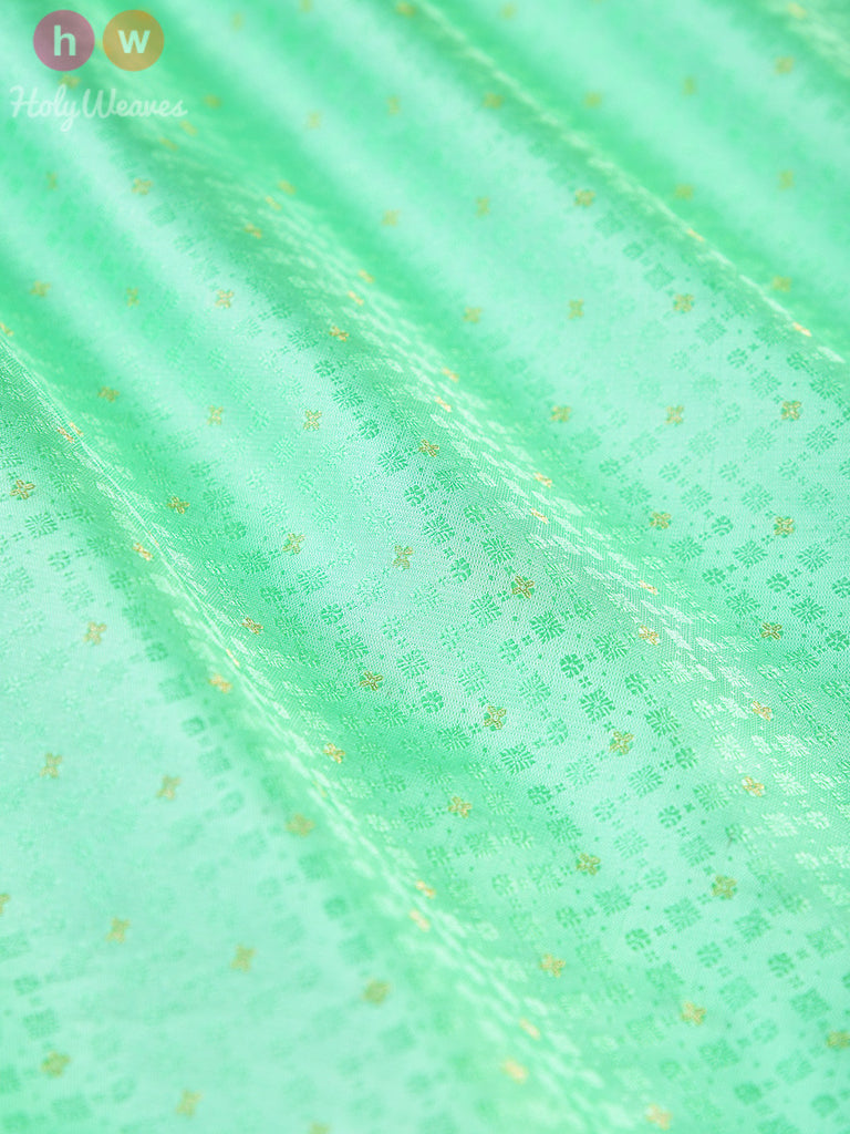 Aqua Green Katan Silk Tanchoi Brocade Handwoven Fabric - HolyWeaves