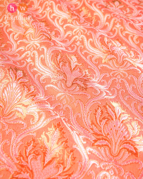 Peach Handwoven Kimkhwab Brocade Fabric- HolyWeaves