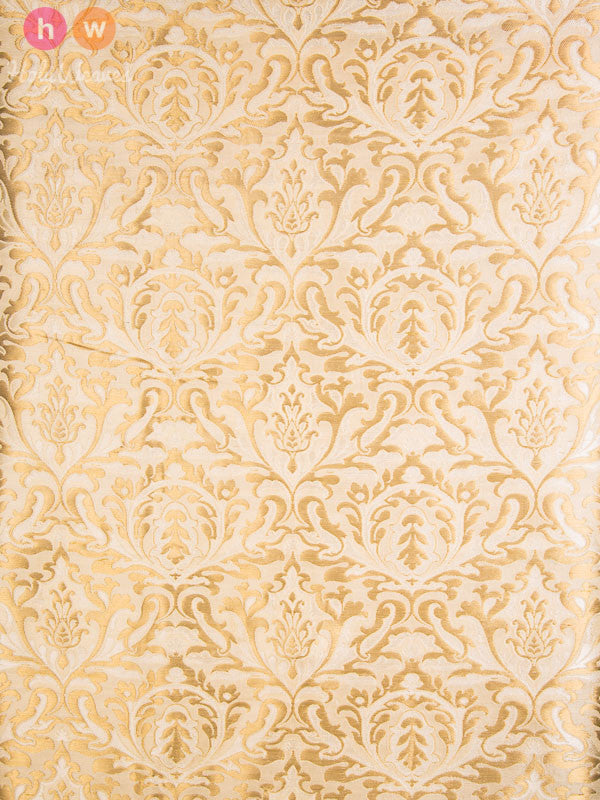 Cream Handwoven Kimkhwab Brocade Fabric - HolyWeaves