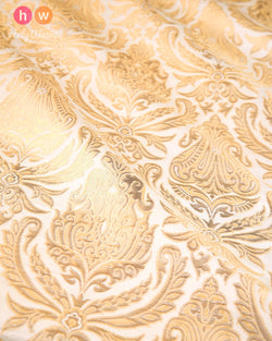 Cream Handwoven Kimkhwab Brocade Fabric- HolyWeaves