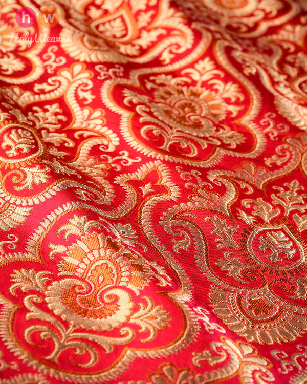 Red Handwoven Kimkhwab Brocade Fabric - HolyWeaves