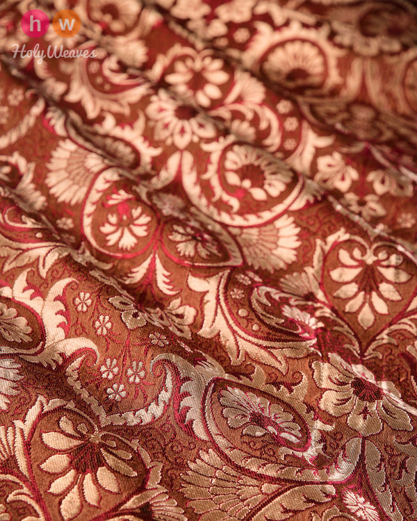Brown Handwoven Kimkhwab Brocade Fabric - HolyWeaves