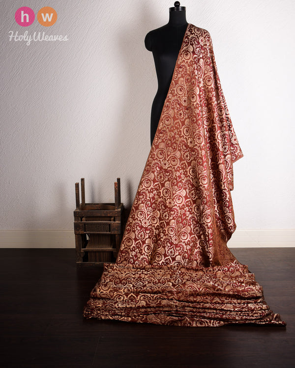 Brown Handwoven Kimkhwab Brocade Fabric- HolyWeaves