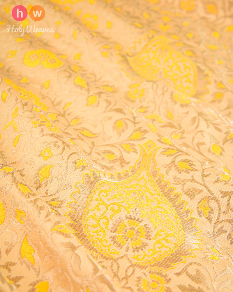 Yellow Handwoven Kimkhwab Brocade Fabric- HolyWeaves
