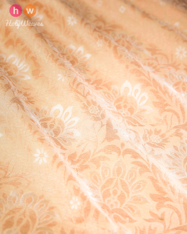 Beige Cutwork Brocade Handwoven Muga Silk Fabric- HolyWeaves