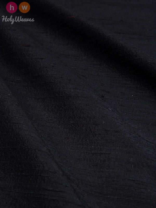 BLack Raw Silk Fabric - HolyWeaves