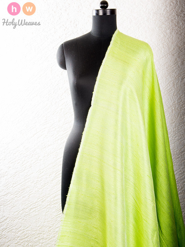 Green Raw Silk Fabric - HolyWeaves