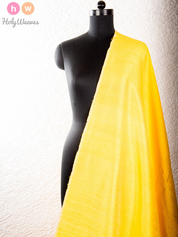 Yellow Raw Silk Fabric - HolyWeaves