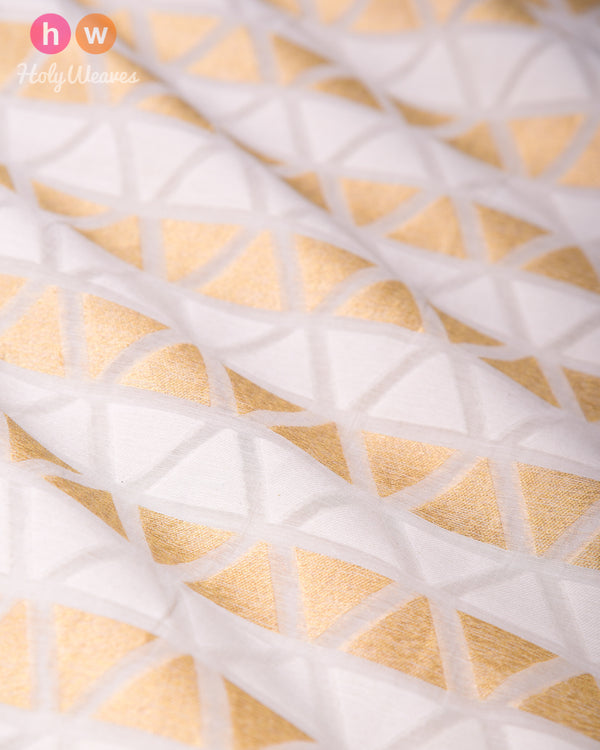 Cream Cotton Silk Cutwork Brocade Handwoven Fabric- HolyWeaves