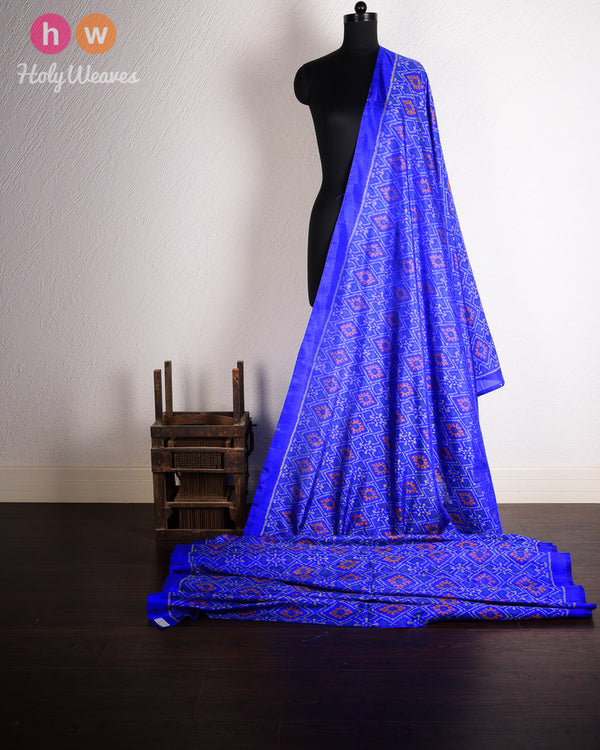 Blue Silk Patola Handwoven Fabric- HolyWeaves