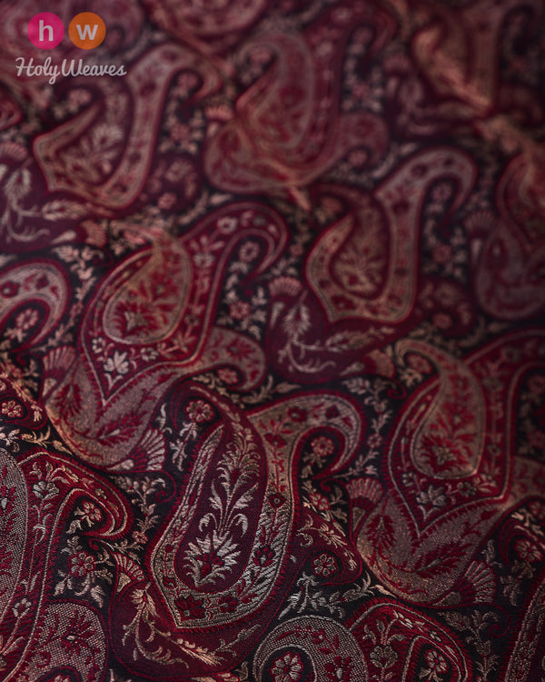 Black Art Silk Handwoven Jamawar Fabric- HolyWeaves