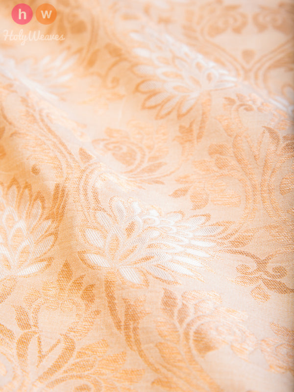 Beige Muga Silk Cutwork Brocade Gold-Silver Handwoven Fabric - HolyWeaves