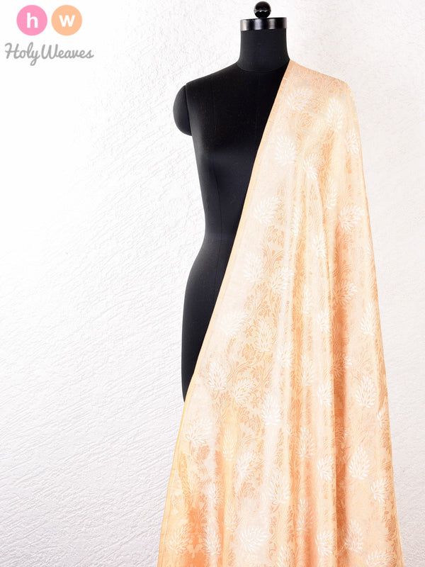 Beige Muga Silk Cutwork Brocade Gold-Silver Handwoven Fabric- HolyWeaves