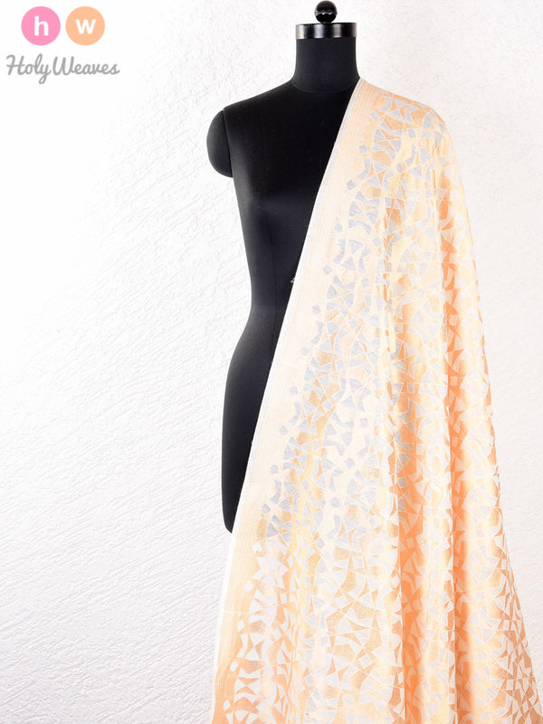 White Muslin Cotton Silk Cutwork Brocade Handwoven Fabric- HolyWeaves